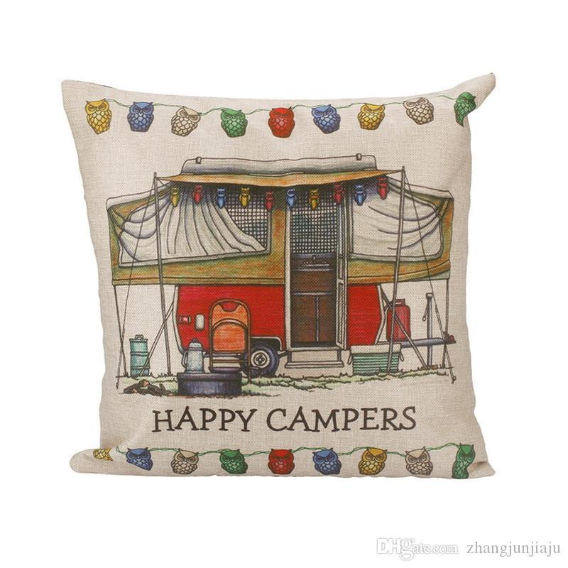 Taille Kissenbezug Happy Campers Kissenbezug Kissenbezüge Heimtextilien Geschenk Kissenbezüge Set Drop Shipping Auto Kissen Kissenbezug