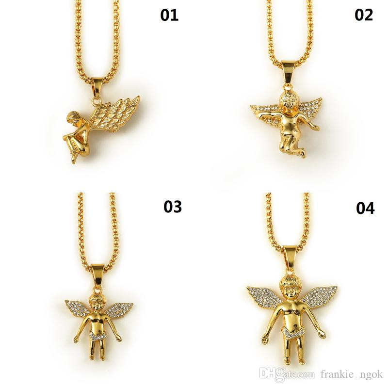 484f9e4761f86 New 18K Gold Plated Boy Angel & Girl Angels Pendant Micro Angel Piece  Necklace For Men Women Hip Hop Charm jewelry Free Shipping