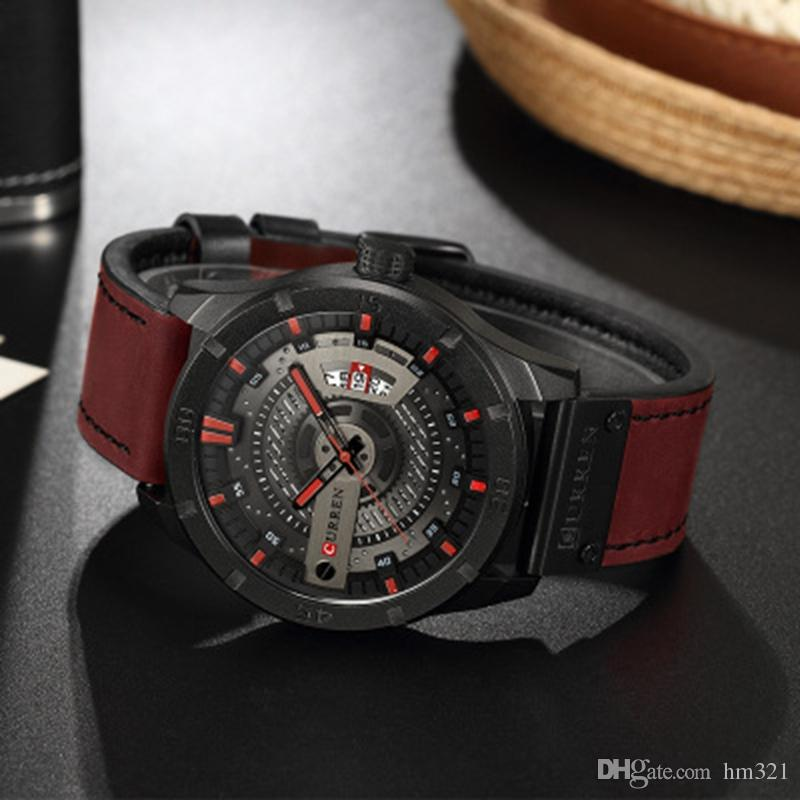 CURREN Date Herrenuhr New Top Brand Sport Military Army Business Männliche Uhr Leder Quarz Handgelenk Herrenuhren Box