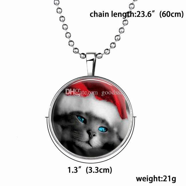 크리스마스 선물 슬라이드 펜던트 목걸이 귀여운 사랑스러운 고양이 펑크 스타일 빛나는 긴 합금 수지 보석 패션 목걸이 21g 60cm