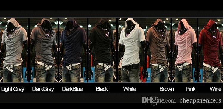 Assassin 's Creed Men Casual T-shirt à capuche manches courtes en coton solide encolure en V de mode d'hommes en vrac Tee Livraison gratuite D04