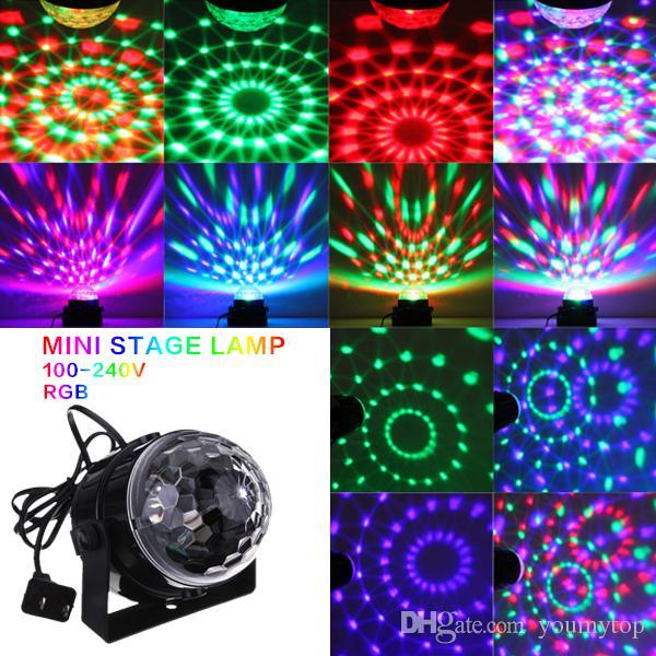 Mini RGB LED Projektör DJ Aydınlatma Işık Dans Disko Ses Sesli Aktif Kristal Sihirli Top Bar Parti Noel Sahne Işıkları Gösterisi