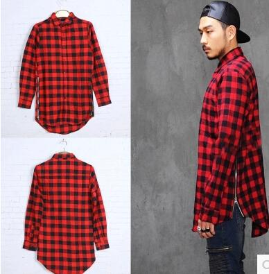 Hip Hop Mens Dress Shirt Plaid Shirts Long Sleeve Men Shirts Man ...