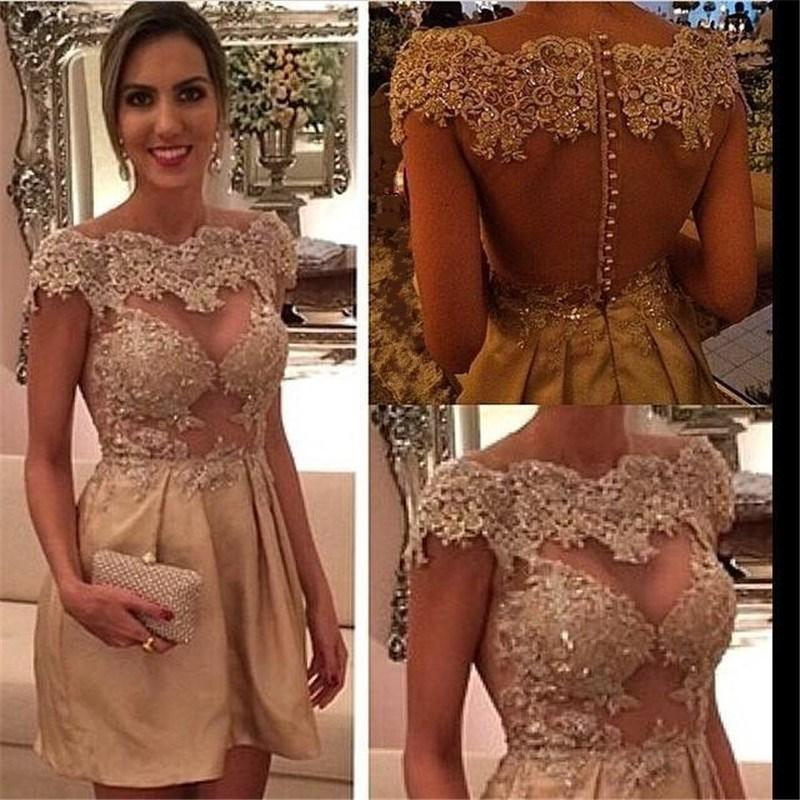 Sheer Sexy Cocktail Dresses 2015 Short Jewel Off Shoulder Lace Appliqued Mini See Through Taffeta Mini Party Hot Homecoming Gowns