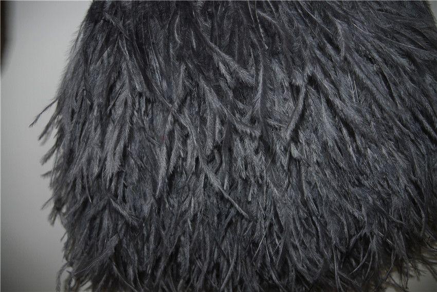 Il trasporto libero 10 yards / 1 piega luce grigi grigi piume di struzzo taglio frangia su Satin Header 5- 6 pollici 12-15 cm in larghezza punta a punta