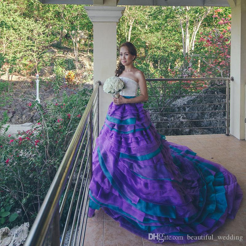 Discount 2015 A Line Strapless Backless Floor Length Sweep Train Sleeveless Purple Teal Frilled Bridal Gowns Beach Wedding Dresses Color Accented