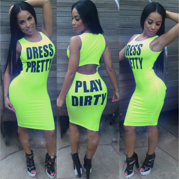 2015 Summer Dresses for Womens European Fashion Multicolor Letters Sexy Tight Dress Sleeveless Slim Bodycon Sexy Casual Dresses for women