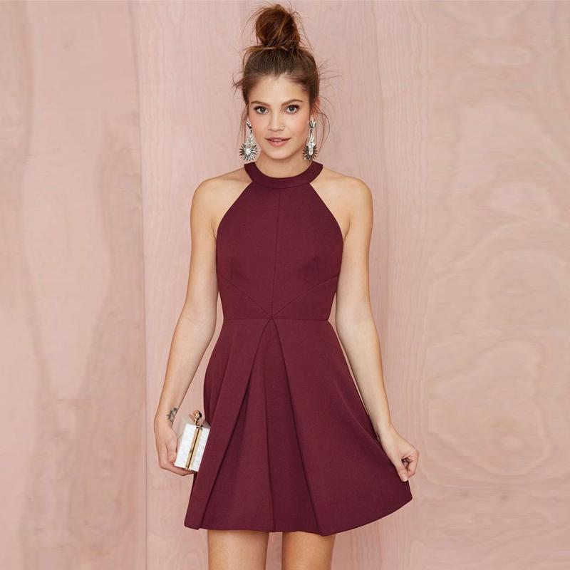 Burgundy Short Party Dresses Satin Halter Neck Young Lady Gowns ...
