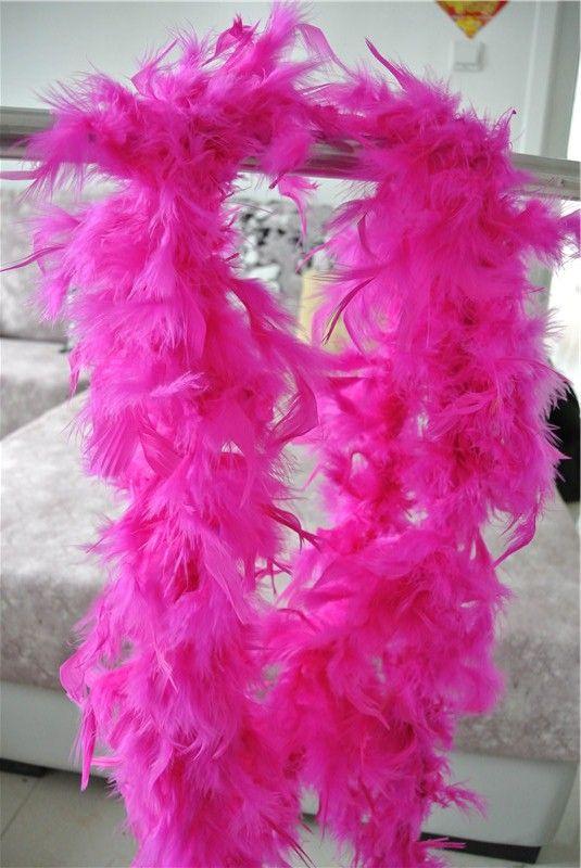 Spedizione gratuita 20 pz 200 cm / pcs hot pink Feather Boas 40 gramme Chandelle Feather Boas Marabou Boa di Piume costumi festa forniture cucire