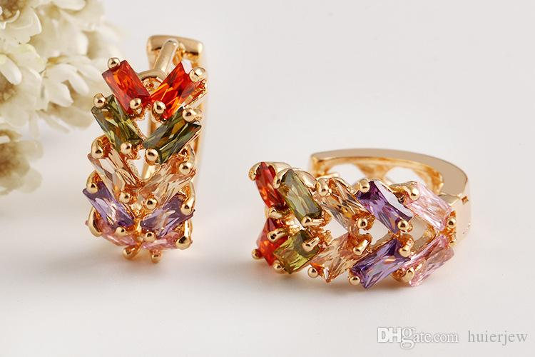 Gemstone Rings Hollow Colorful Big Austrian Crystals Rings For Women 18K Rose Gold Plated Geometric Wide Wedding Party Gold Rings