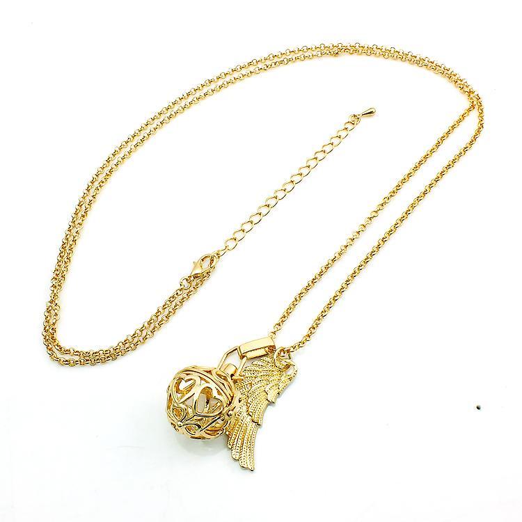 Hohe Qualität Engel Halsketten Anrufer Harmonie Baumeln Feder Kupfer Chime Ball Cage Anhänger Halsketten Für Frauen Schmuck