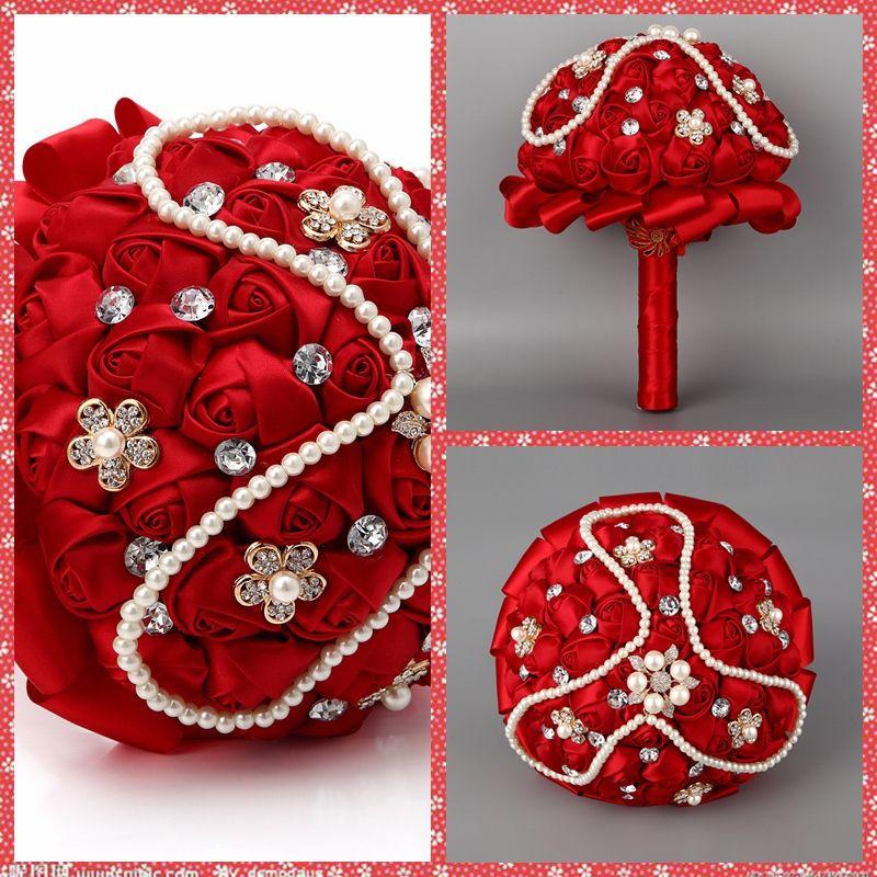 Beautiful Rose Flowers Beaded Pearls Crystal For Wedding ...