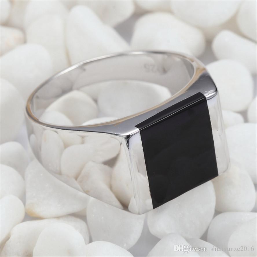 Shinning 925 Sterling Silber Großhandel Ringe Schwarz Resin Explosion Modelle Edle Großzügige S - 3775 sz # 6 7 8 9 10 11 Lieblings Weihnachtsgeschenk
