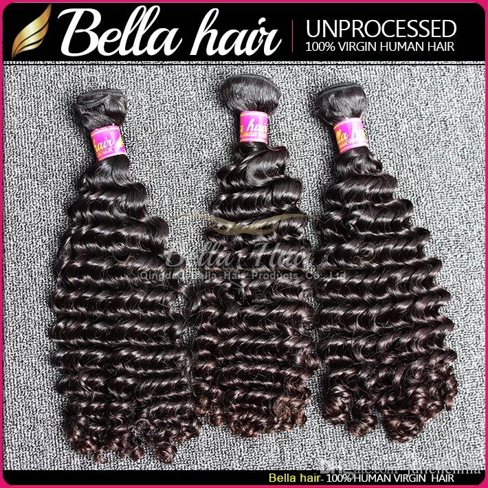 Bella Hair® 8-30 Paquetes de pelo virgen brasileño Onda profunda Hairweaves Doble tramo de color natural sin procesar