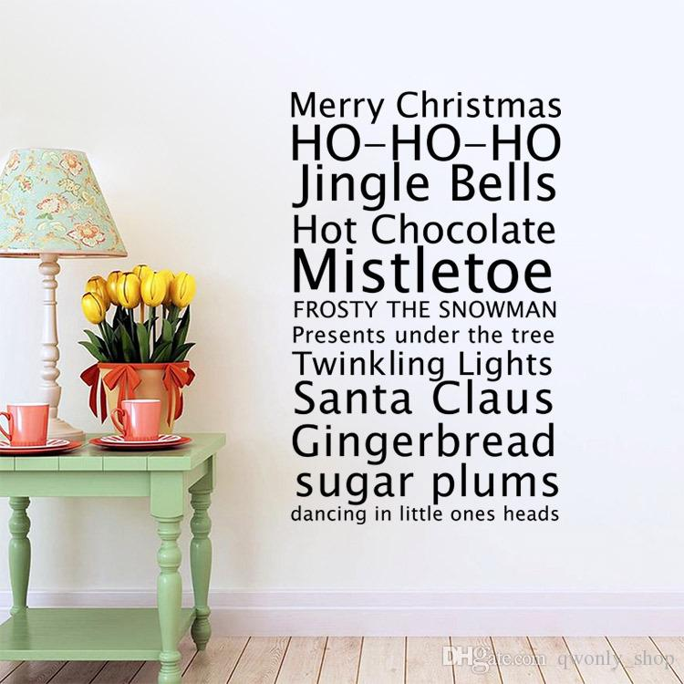 Feliz Navidad Saludos Proverbios Pegatinas de pared Decoración para el hogar Sala de estar Diy Calcomanías de arte Extraíbles REGLAS DE LA CASA Palabras Tatuajes de pared