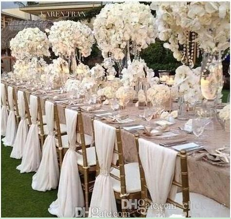 2018 simple cheap chair sashes chiffon wedding chair cover for Quick and inexpensive wedding decorations