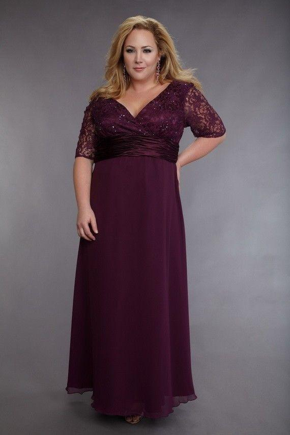 Chiffon Plus Size Mother Of The Bride Dresses 2015 Silver Plum V