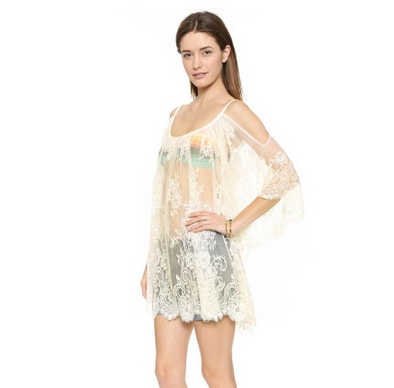 сексуальные кружева марлевые sheer ремни без бретелек пляж рубашки платья плюс размер летние женщины Приморский off-the-плечо полые белый черный халат блузка