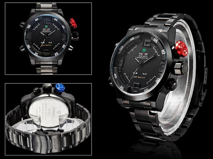 WEIDE WH2309 Relogio Multi-function Military Watch for Men's Quartz Fashion Casual Watches Men Full Steel LED Display Wristwatches