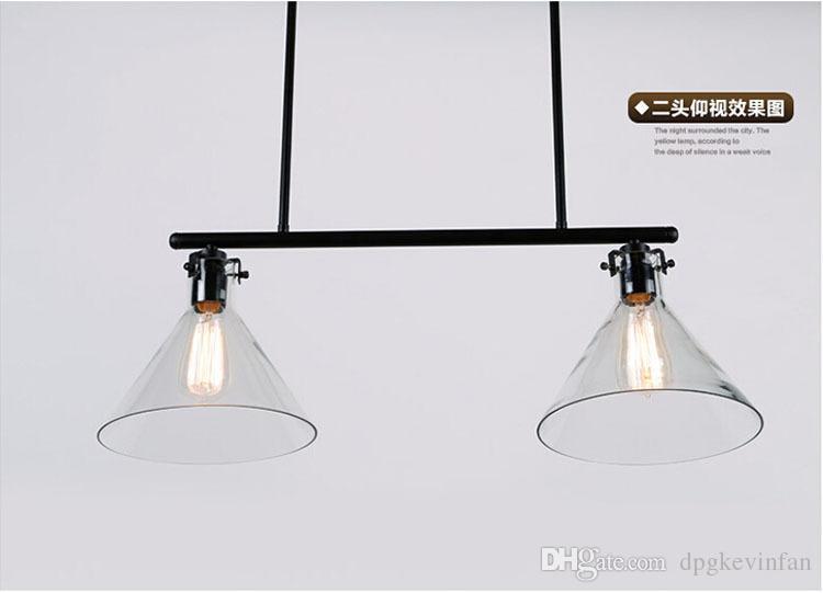 Moderne Meridian Transparent Glas Kronleuchter Edison Glühbirne Trichter Pendelleuchte 2/3 Kopf RH KLAR GLAS FUNNEL FILAMENT PENDELLEUCHTE