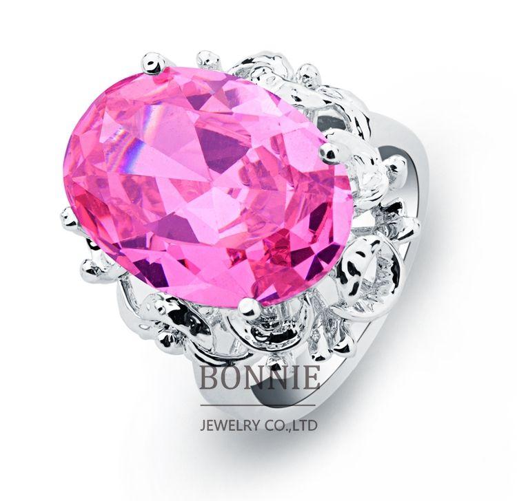 2018 Fashion Women Round Big Diamond Wedding Rings Pink Red