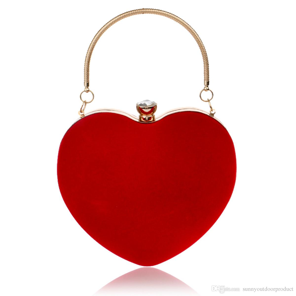 New Fashion Heart Shaped Women Evening Bags Red/Black Clutch Bag Lady Shoulder Bag With Chain Girl Wristlet Wallet Purse For Wedding Dinner