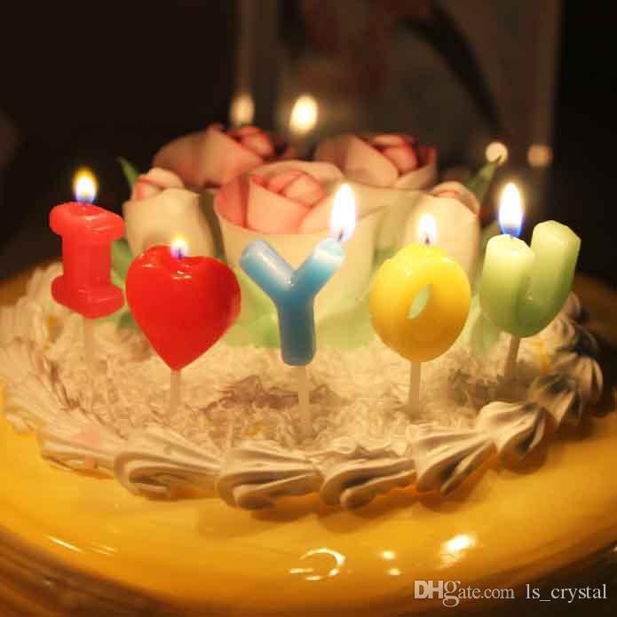 I LOVE YOU Mini Color Candle Birthday Party Cake Decoration Art ...