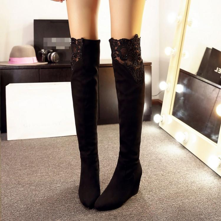 2015 Plus Size Long Thick Legs Big Tube Circumference Knee Stretch ...