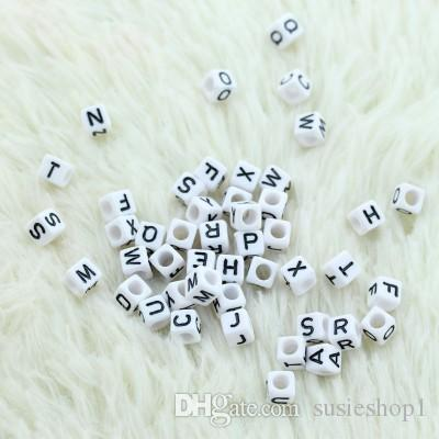 Mixed Alphabet /Letter Acrylic Cube Beads 6x6 mm white with black letters