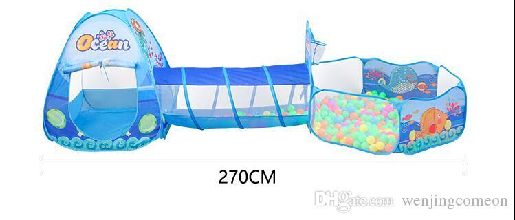 키즈 플레이 농구 후프와 함께 텐트 터널 볼 구 덩이 카톤 대양 동물 3 1 세트 팝업 쉬운 개방 배짱이 튜브 Teepee