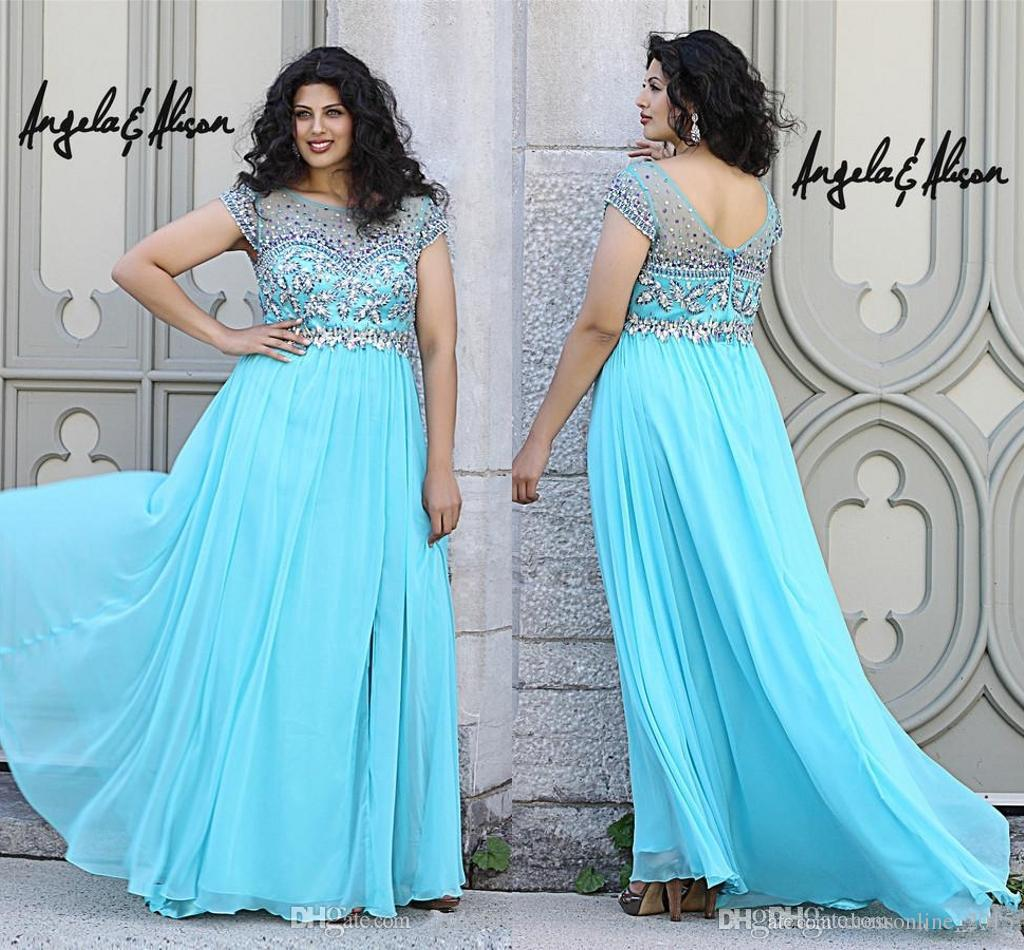 2015 Light Turquoise Maternity Angela Plus Size Prom Dresses ...