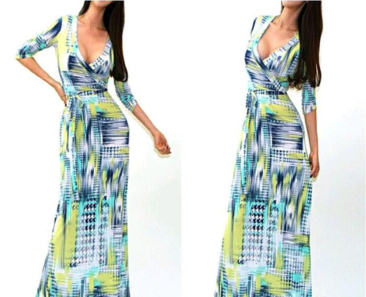 2015 Fashion New Maxi Dresses for Womens Summer Party Evening dress Clothes V-Neck Sexy Floral Printed Dresses Women Casual dresses xl