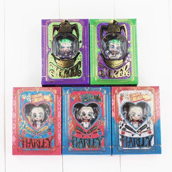 5 teile / satz SuiciSquad de Harley Quinn Joker Anhänger Schlüsselanhänger Schlüsselanhänger PVC Action Figure Modell Spielzeug Puppe Mit Box