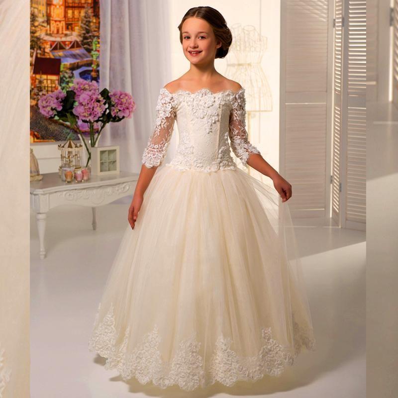 2015 элегантный с плеча девушка свадебные платья с половиной рукава линии длиной до пола кружева аппликация цветок девушки платья для свадьбы