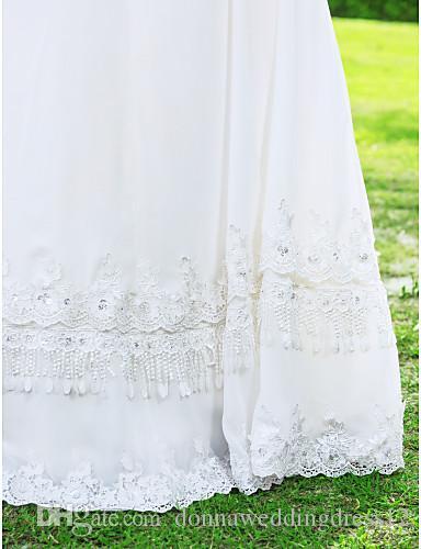 2016 Новая мода популярные Бесплатная доставка слоновой кости длиной до пола V-образным вырезом 3/4 длина рукава кружева шифон оболочка свадебные платья 259