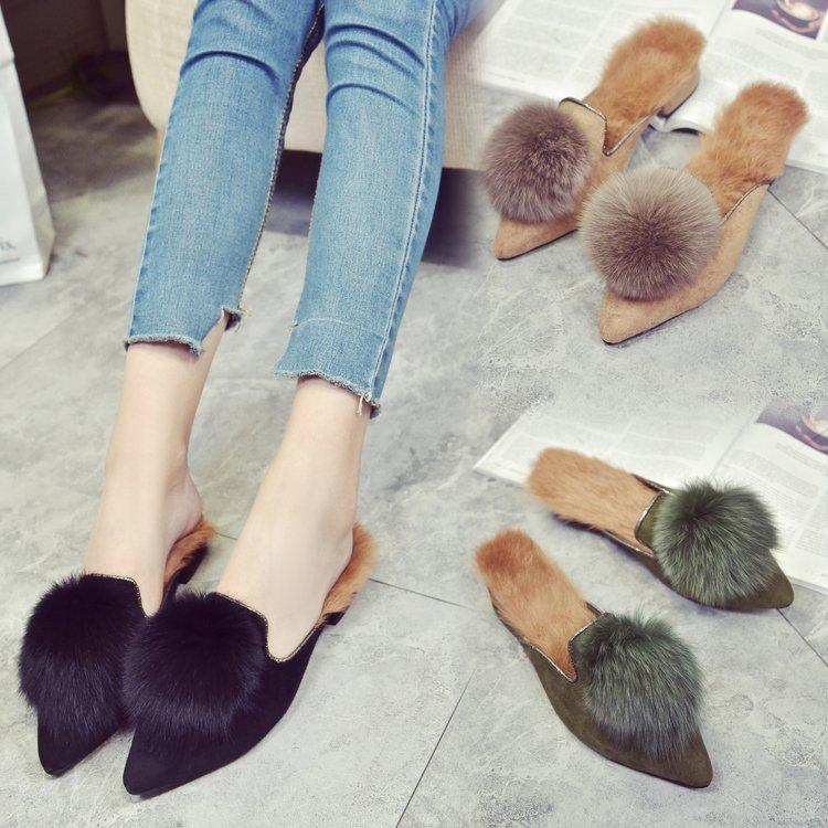 2017 Pantofole Donna Autunno Inverno Tacco Piatto 100% Vera Pelliccia Pantofole Slip On Pelliccia di Coniglio Punta A Punta Appartamenti Mocassini Esterno