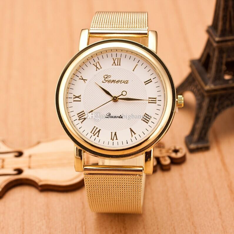 0a6489cc3f5 Compre Genebra Relógios Personalidade Mais Recente Algarismos Romanos Dial  Cinto De Malha Relógio De Senhoras De Genebra De Aço Inoxidável Relógio De  ...