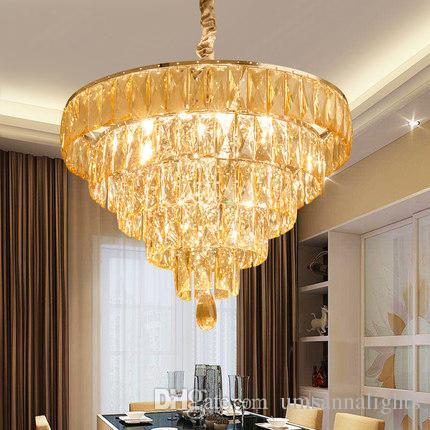 De Haute Qualite Acheter Lustres En Cristal Américains Luminaire Lustre Moderne Rond Maison  Éclairage Intérieur Salle À Manger Restaurant K9 Cristal Lampes Suspendues  De ...