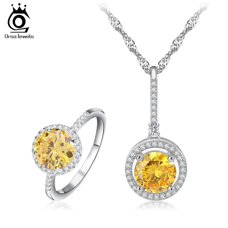 White Gold Plated Stellux Ring And Pendant Necklace Jewelry Sets for ... bc7a2ad9b80f