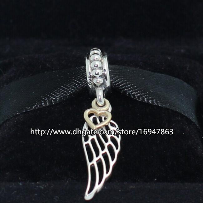 100% S925 стерлингового серебра 14 K настоящее золото Крыло ангела мотаться очарование шарик подходит Европейский Pandora ювелирные изделия браслеты ожерелья кулон