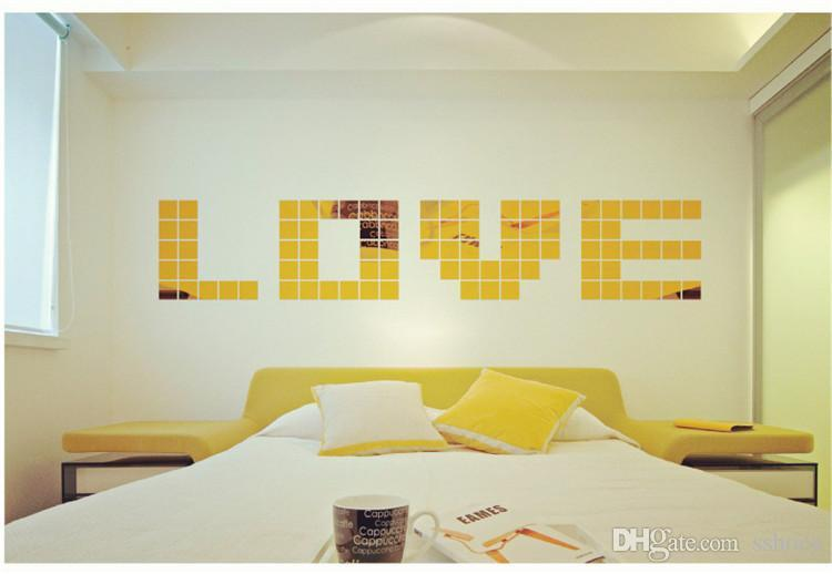 Fashion Mirror Wall Stickers Home Décor Square Crystal Mirror Wall ...