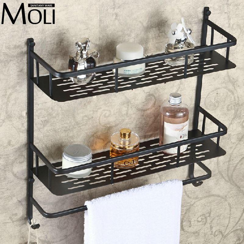 2018 Oil Rubbed Bronze Bathroom Shelf Wall Mounted Dual Layer ...