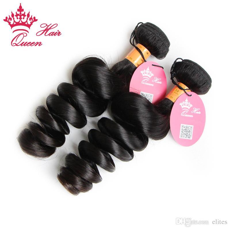 Queen Hair Products Indian Virgin Hair Extensions Loose Wave 8-28 I lager 100% Mänsklig Hår Blandad Längd 2 st DHL Snabb leverans