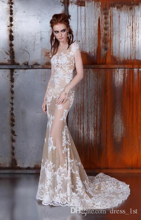 Gotische 2016 tule champagne witte kant applique a line trouwjurken met afneembare rok 2 in 1 illusie terug bruidsjurk EN12911
