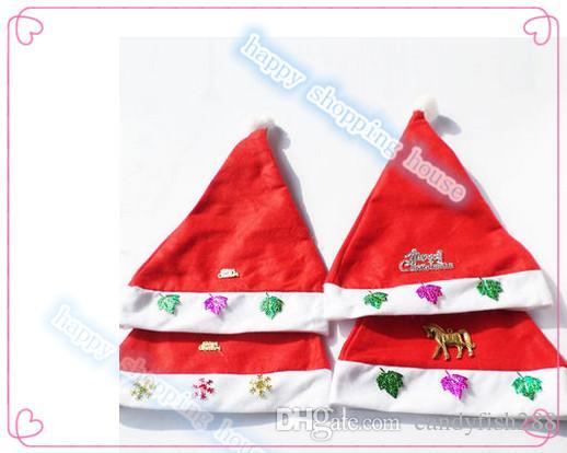 10 adet şapka Ücretsiz kargo Yetişkin çocuk Noel ürünleri giyim hediyeler kırmızı Noel şapka Olmayan dokuma kumaş