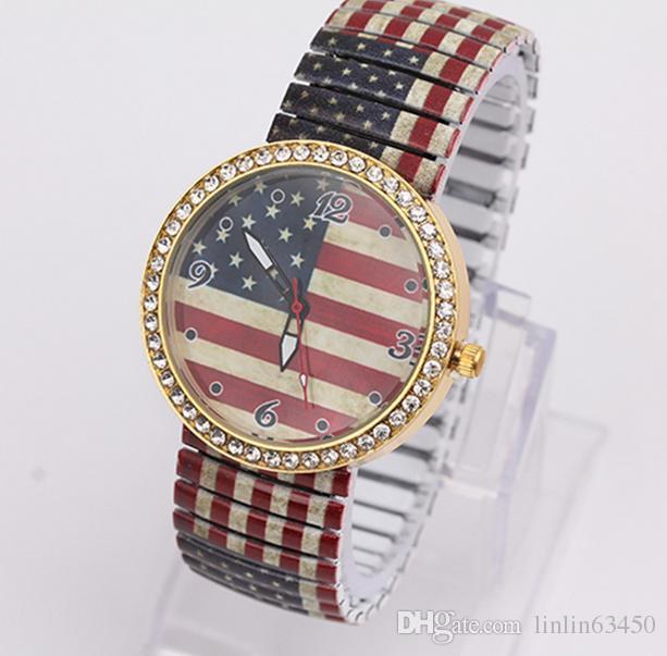 Toptan Sıcak Bayan Yeni Moda Amerikan Bayrağı Desen Kakma Rhinestone Kuvars Saatler W-129