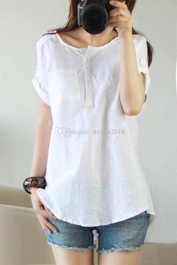 Womens White Cotton Blouse - Breeze Clothing