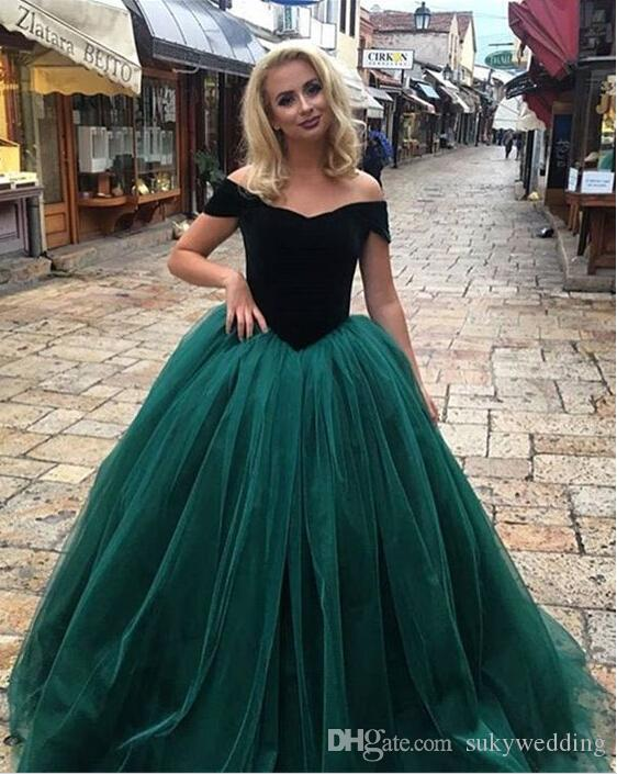 cf4fea30c60 Vintage Velvet Prom Ball Dresses Emerald Green Quinceanera Dresses Custom  Off Shoulder Sweet 16 Party Formal Gowns Plus Size Evening Gowns Wanelo Prom  ...