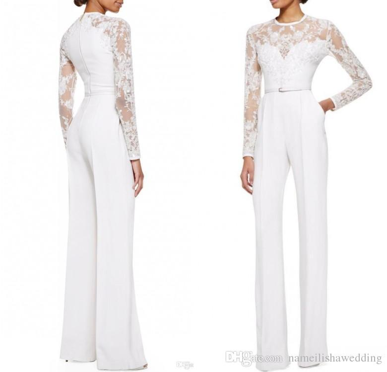 Modest white elie saab lace long sleeves jumpsuit pant for Womens white dress suit wedding