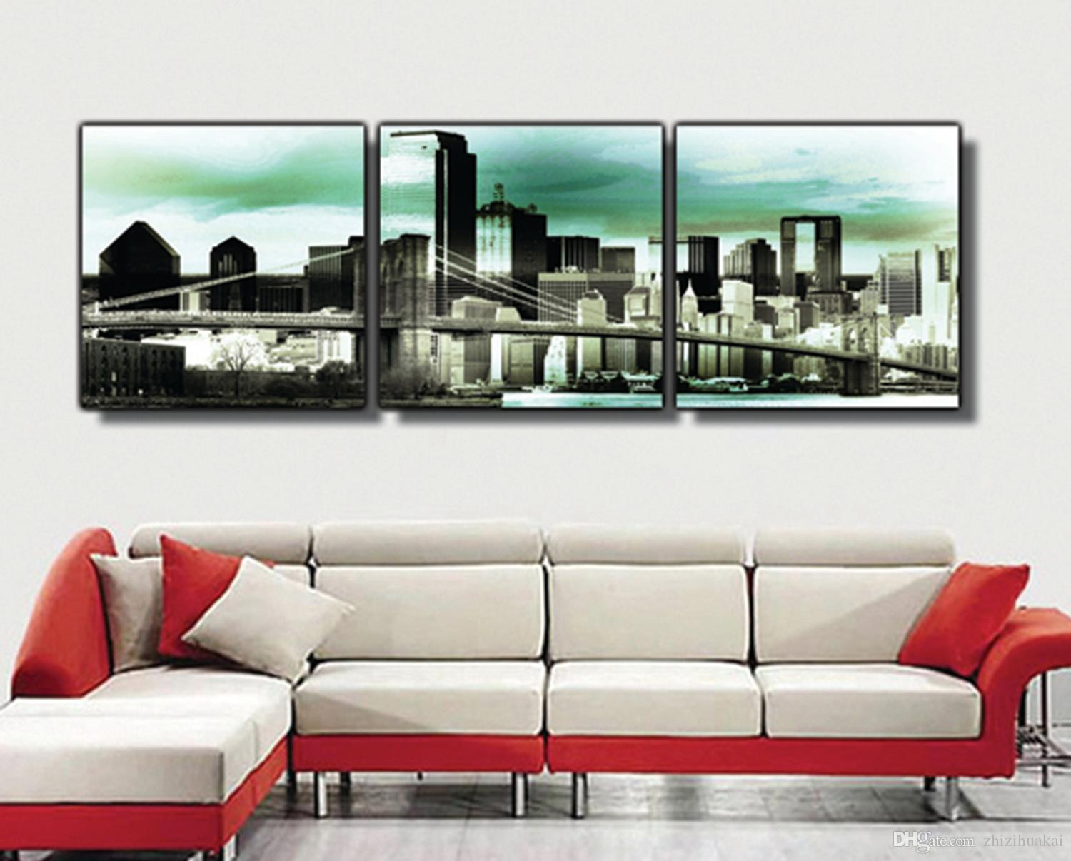 3 Pieces Free shipping Art Picture Paint on Canvas Prints Brooklyn Bridge France Napoleon Eiffel Tower Sydney Opera House New York Beiijing
